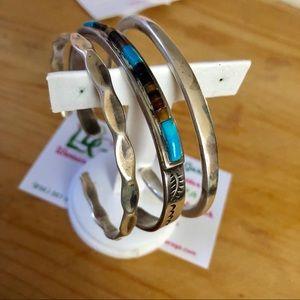 3 Sterling Silver Cuff Bracelets One Navajo